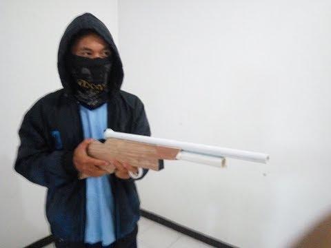 CARA MEMBUAT SENJATA MAINAN BERPELURU / SHOT GUN TOY BULLETS