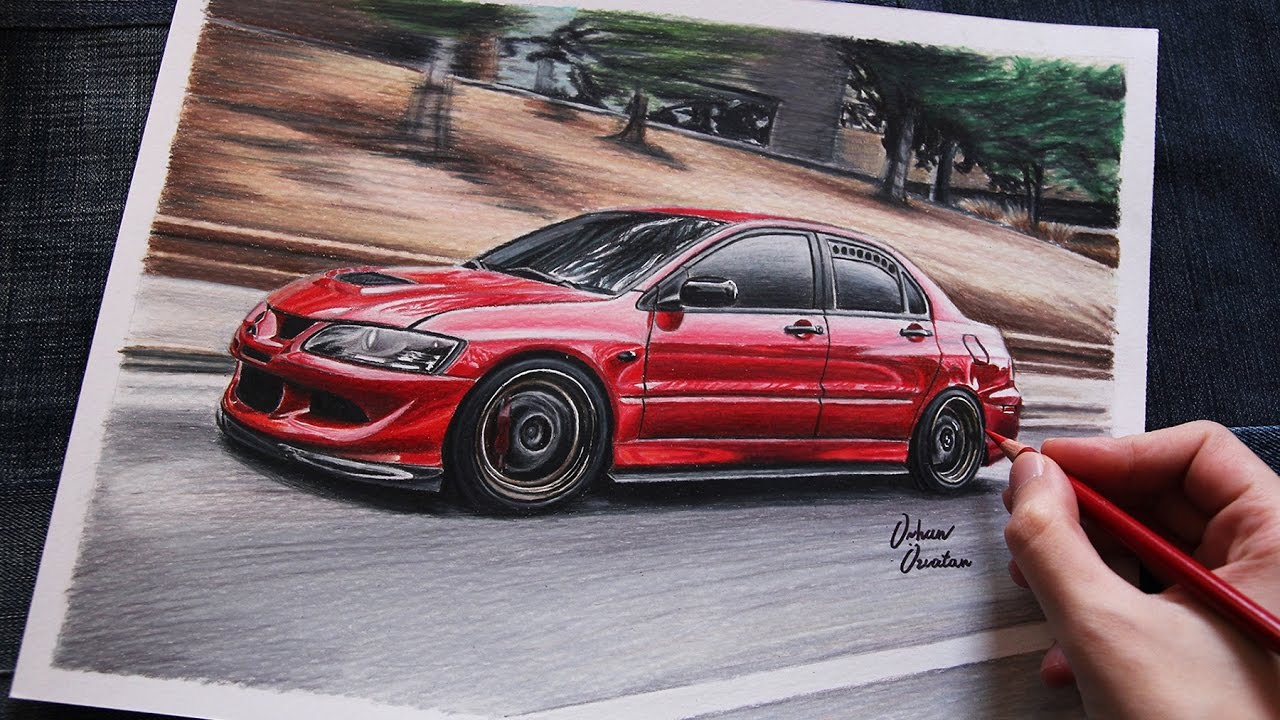 mitsubishi evo 8 red usa car drawing youtube. Black Bedroom Furniture Sets. Home Design Ideas