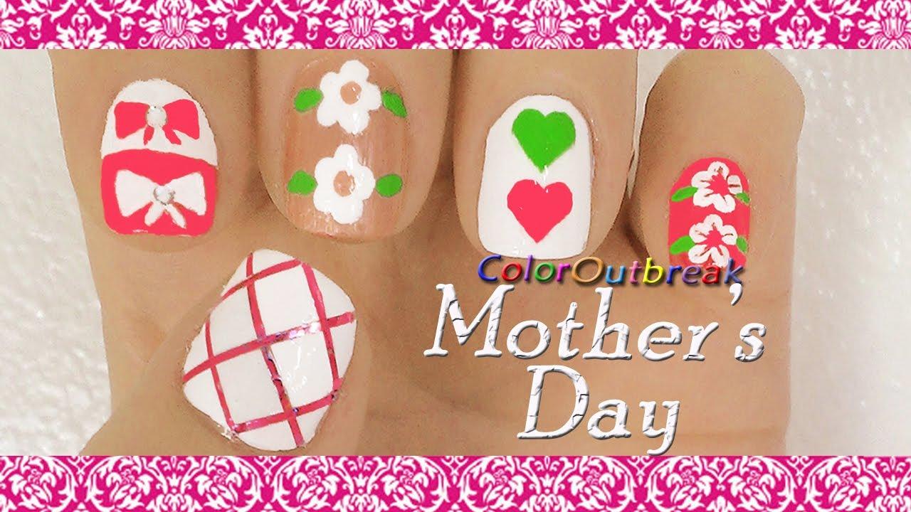mother u0027s day nail art designs pink criss cross hair bows
