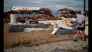 Os estragos da tempestade de granizo na Grécia