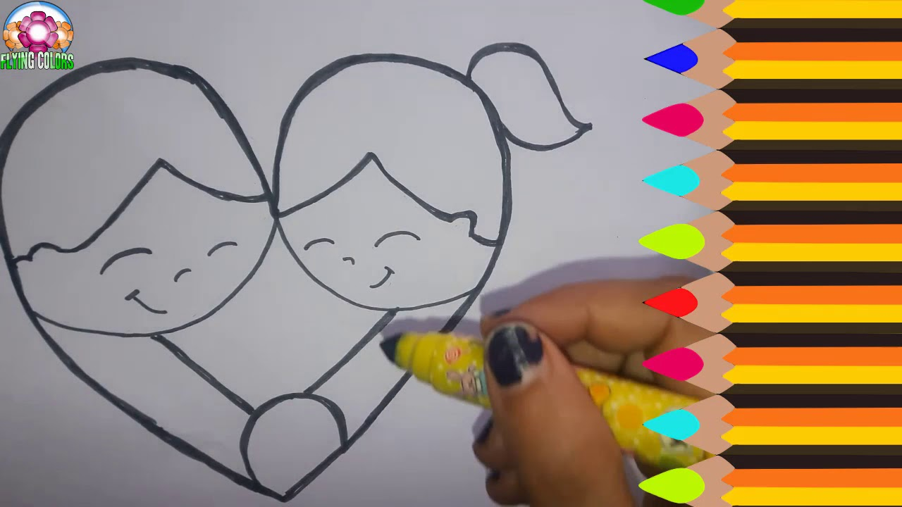 Drawing of a boy and a girl holding hands draw heart shape character