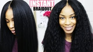 How To Make Synthetic Hair Wavy: Braid Out on Kinky Straight Weave