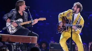 "Post Malone & Kieth Urban Duet at #ElvisAllStarTribute ""Baby What You Want Me To Do"" @nbc"