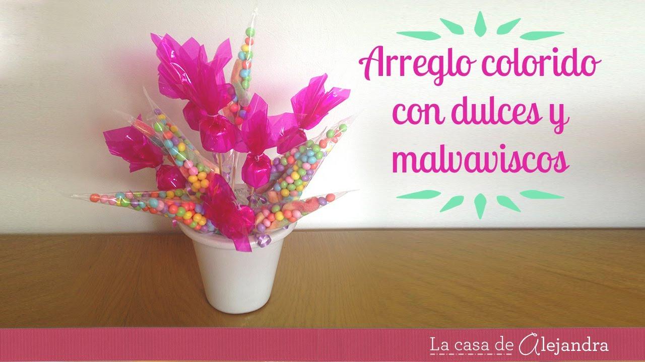Arreglo con dulces y malvaviscos diy arrangement with for Arreglos de mesa con dulces