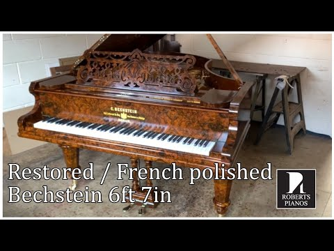 BUY ONLINE: Fully Restored And French Polished Bechstein 6ft 7in Grand In Burled Walnut. C1894