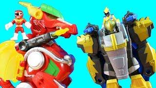 Power Rangers Morphin Zords Gold Ranger Pterazord Battles Red Ranger Dragon Thunderzord & Rhino Zord