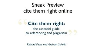 Cite them right online - sneak preview