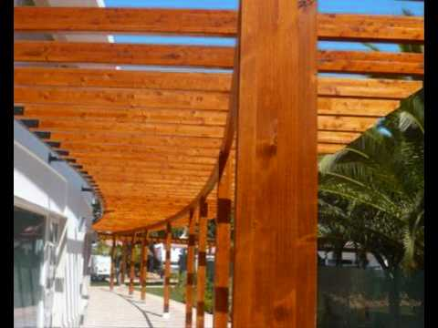 Wooden Pergolas And Sun Shades In Wood Algarve Portugal Europe