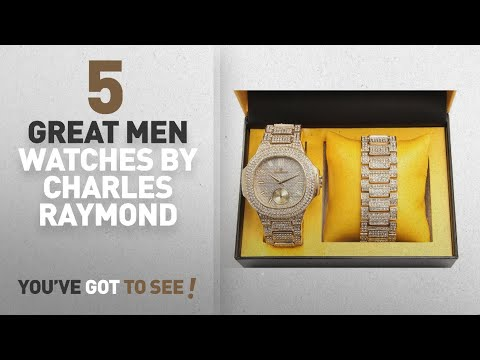 Top 10 Charles Raymond Men Watches [ Winter 2018 ]: Bling-ed Out Oblong Case Metal Mens Watch w/