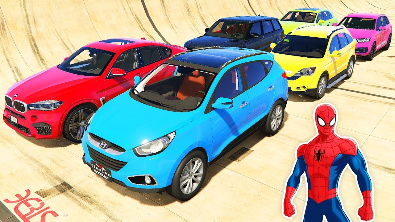 Örümcek Adam Pahalı SUV Araçlarla Dağ Rampasında (GTA 5)
