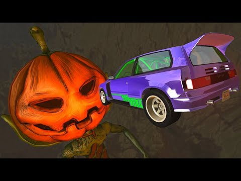 BeamNG.drive - Cars Jumping Over Spooky Pumpkin Man (HALLOWEEN SPECIAL)