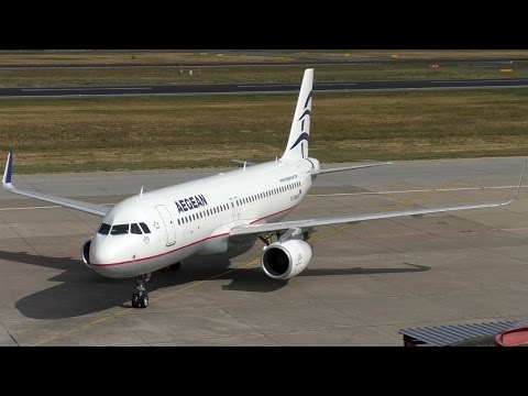 Aegean Airlines Airbus A320-232 SX-DNB close up landing + taxiing + docking gangway Berlin Tegel