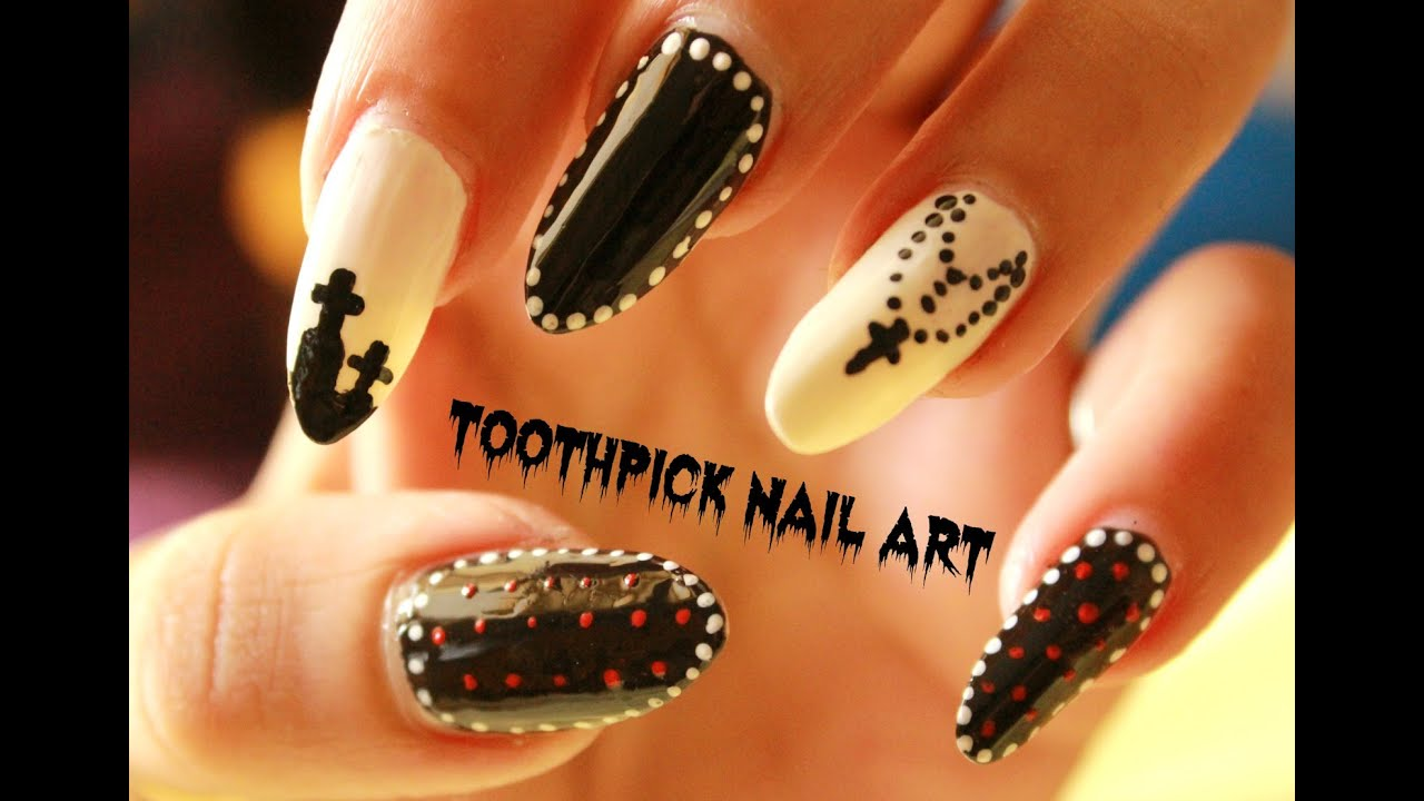 Toothpick Nail Art 3 Easy Halloween Nail Art Designs Using A