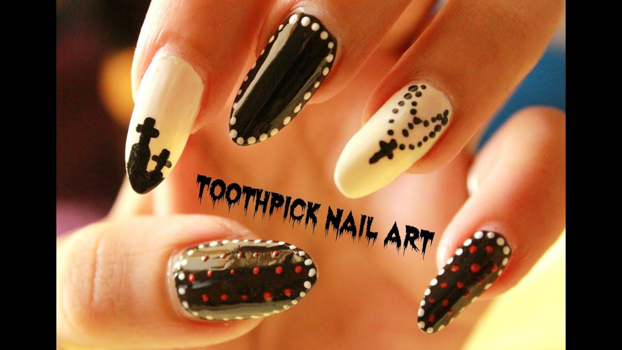 toothpick nail art 3 easy halloween
