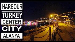Turkey: Alanya city lights. Busy evenings in the harbour