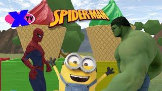 #СПАЙДЕРМЕН отгоняет ХАЛКА от #ПАРОВОЗИКА с мороженным VIdeo for kids SPIDEERMAN