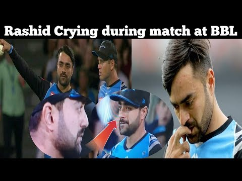 Afghan player Rashid Khan Crying during match at Big bash League for his Father death