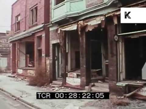 Gritty late 1960s Detroit, homeless men and abandoned buildings