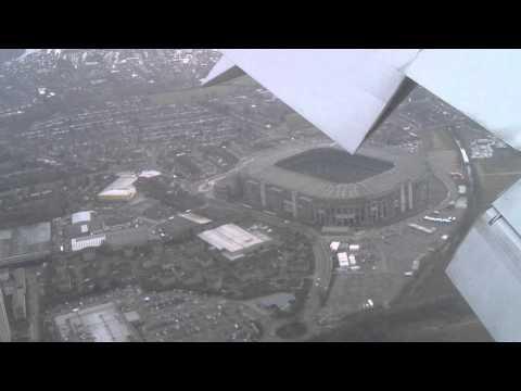 Twickenham Stadium aerial view from Aeromexico AM7 flight landing at Heathrow