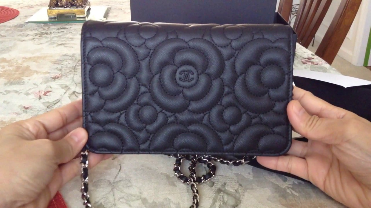1105938e66cc Chanel CAMELLIA Wallet on Chain/WOC caviar leather - YouTube
