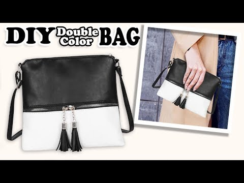 CUTE DIY CROSSBODY BAG DESIGN // Tassel Flap Double Color Purse Bag Tutorial