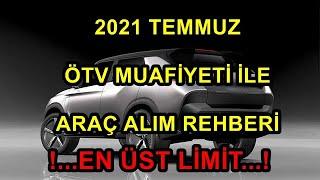 2021 TEMMUZ ENGELLİ İNDİRİMİ ÖTV MUAFİYETİ İLE ARAÇ ALIM REHBERİ (EN ÜST LİMİT ARAÇLAR)
