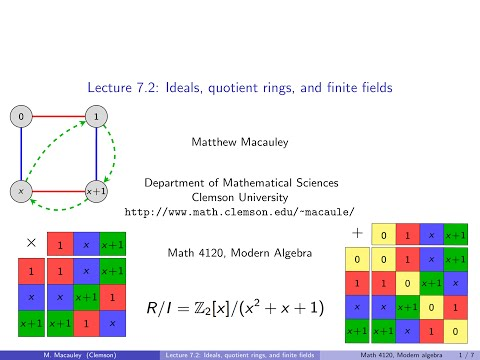 Visual Group Theory, Lecture 7.2: Ideals, quotient rings, and finite fields