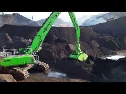 Sennebogen 860R handling coal at Sanegaon Jetty