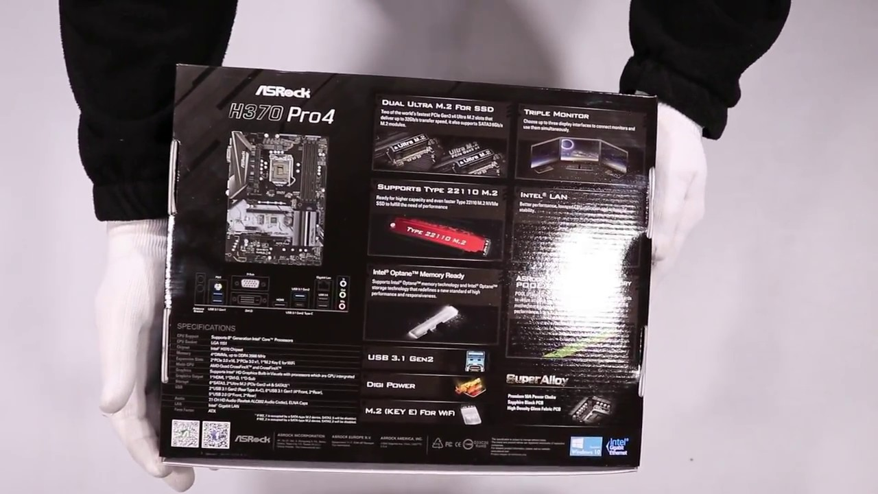 Unboxing ASRock H370 Pro4 s1151 4DDR4 USB3 1/DVI/HDMI/M 2 ATX hands on