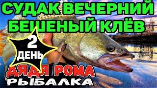 2 Й ДЕНЬ СУДАК ВЕЧЕРНИЙ БЕШЕНЫЙ КЛЁВ рыбалка с лодки ночёвка на берегу