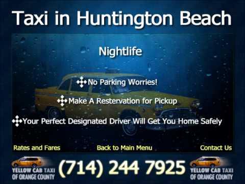 Taxi Cab In Huntington Beach Nightlife Ca