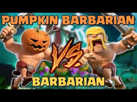 PUMPKIN BARBARIAN vs BARBARIAN - Who Will Win? Clash of Clans Battle - New CoC Troop Attacks!