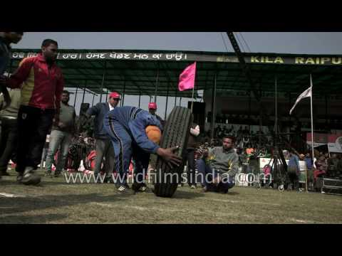 Truck MRF tyre manual lifting competition