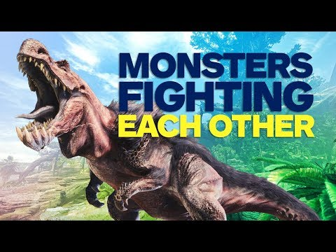Monsters Fighting Each Other in Monster Hunter World Gameplay (4K)