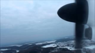 Snowy Bombardier Dash Q-400 take-off at Luxembourg ELLX rwy 06