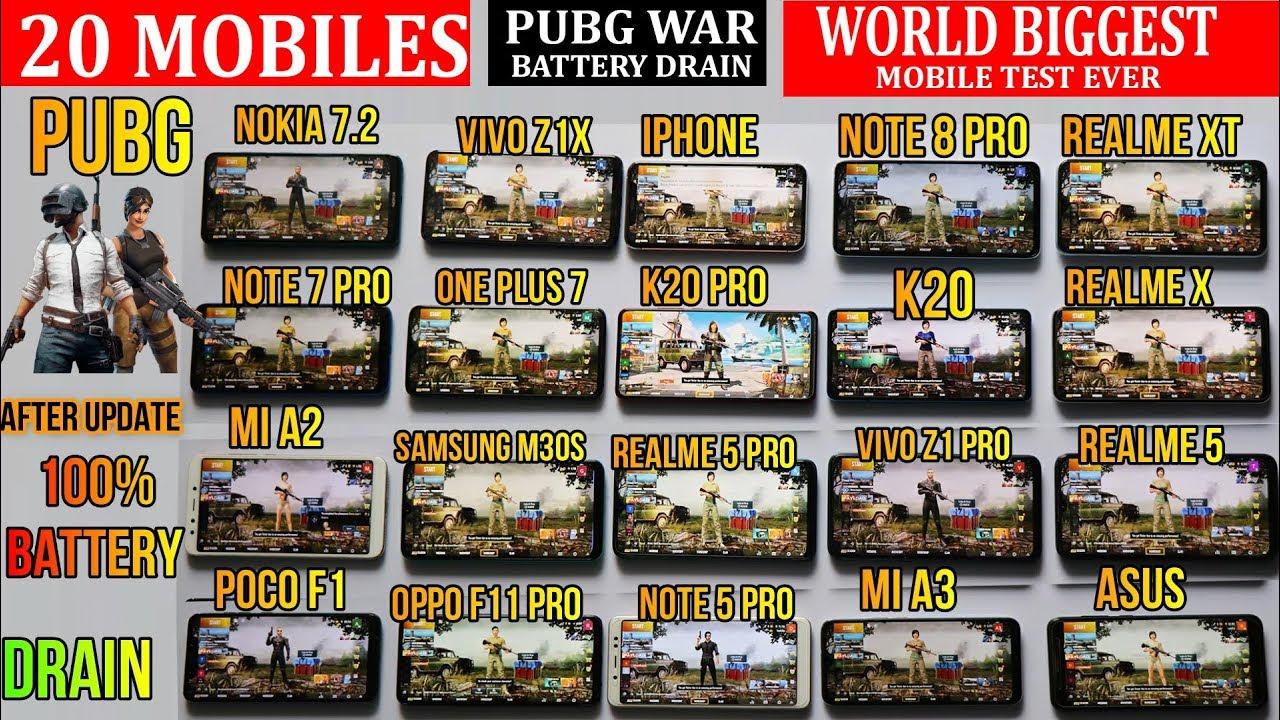 Download 20 MOBILES 100% BATTERY DRAIN WITH PUBG#WORLD Record #NOTE 8 PRO#REALME #NOKIA#SAMSUNG#MI#VIVO#OPPO
