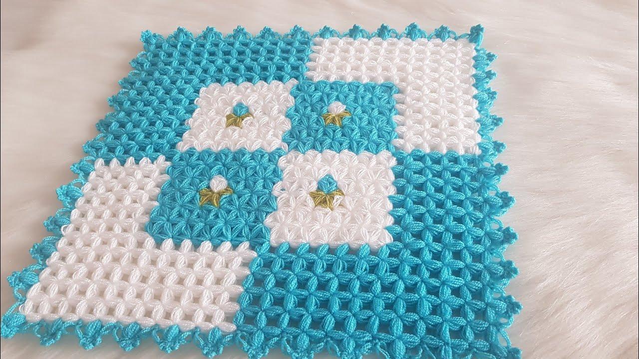 Sıralı Kolay Kare Lif Modeli / Kare Lif Modeli / Çam Dalı Lif / Bebek Battaniye Modeli / Knitting