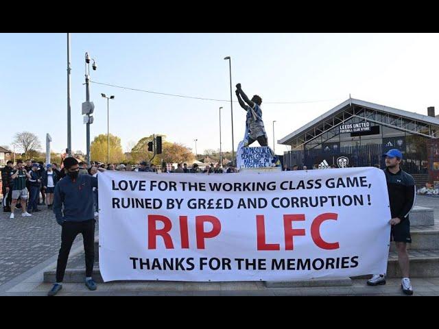 European Super League fan protests Liverpool bus booed #InfiniteWanderlust