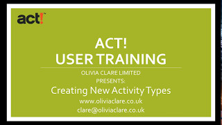 Creating New Activity Types ACT! CRM