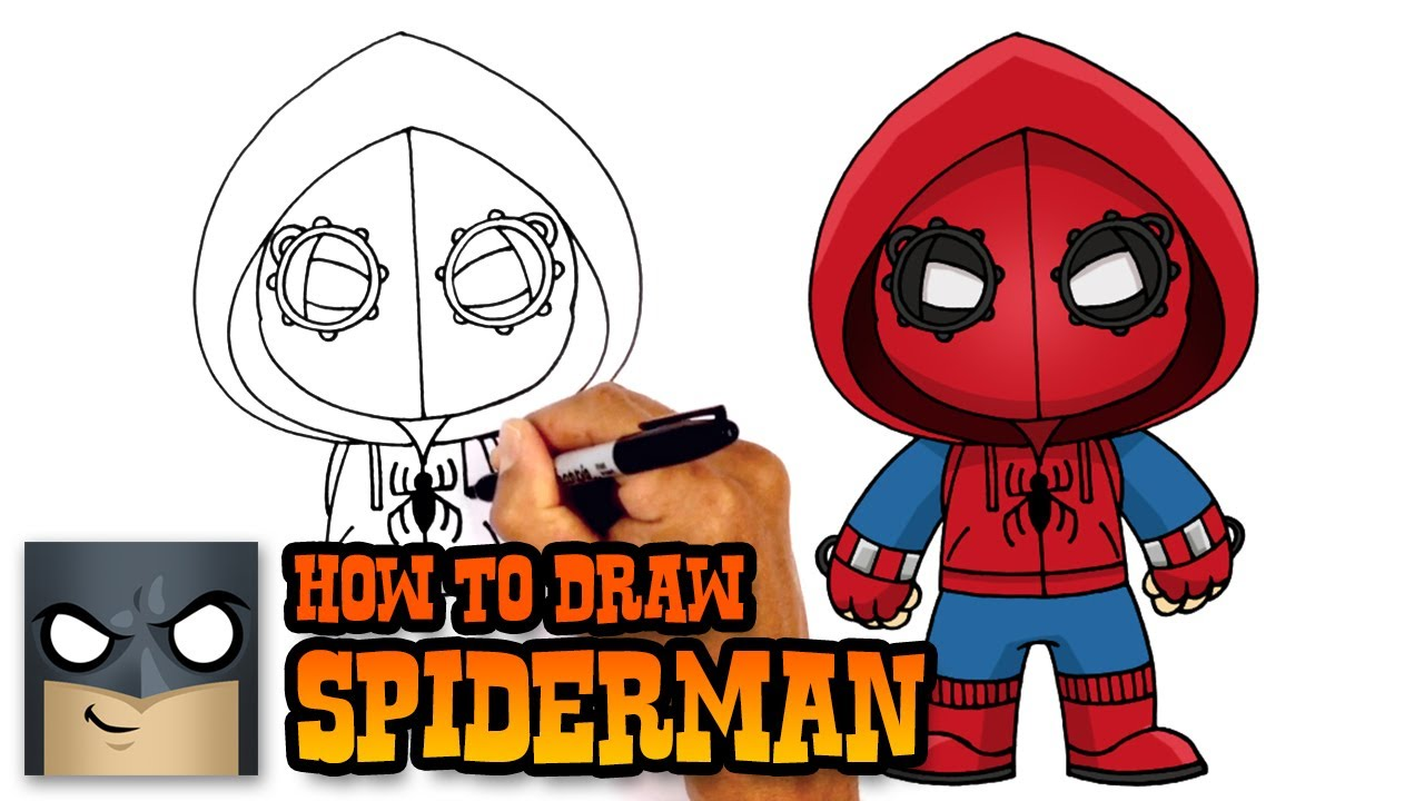 How To Draw Spiderman Homecoming Drawing Tutorial Youtube