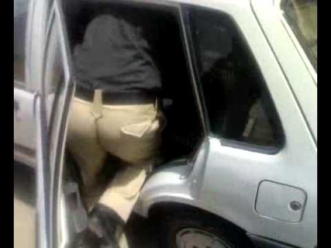Aziz's Car In Post-Checking by Sindh Police =P