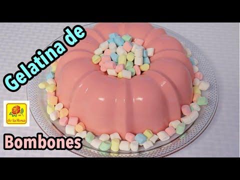 GELATINA DE BOMBON Y TRES LECHES, receta f�cil