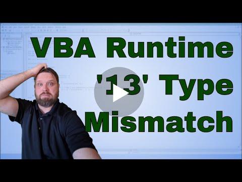 VBA Run-Time Error '13' Type Mismatch