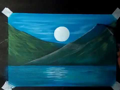 Kids soft pastels drawing landscape painting with Moon.step by step tutorial.