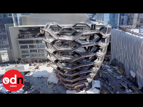 Aerial footage of awesome new staircase sculpture in NYC