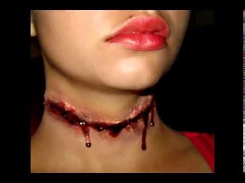 halloween series 2011 slit throat makeup tutorial - Halloween Fake Wounds