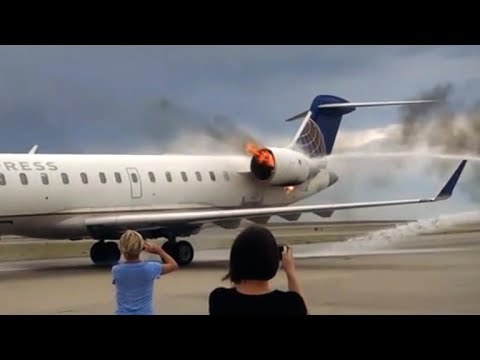 SkyWest jet engine catches fire after landing in Denver