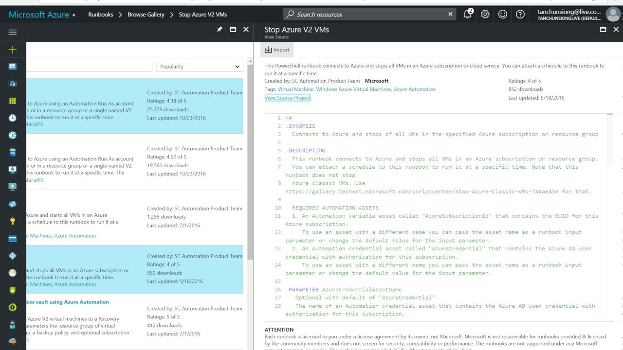 Creating runbook on Azure Automation Service to Start and Stop ARM based V2  VMs