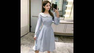 Милое синее платье с длинным рукавом осень корейский стиль kawaii женское платье элегантное s