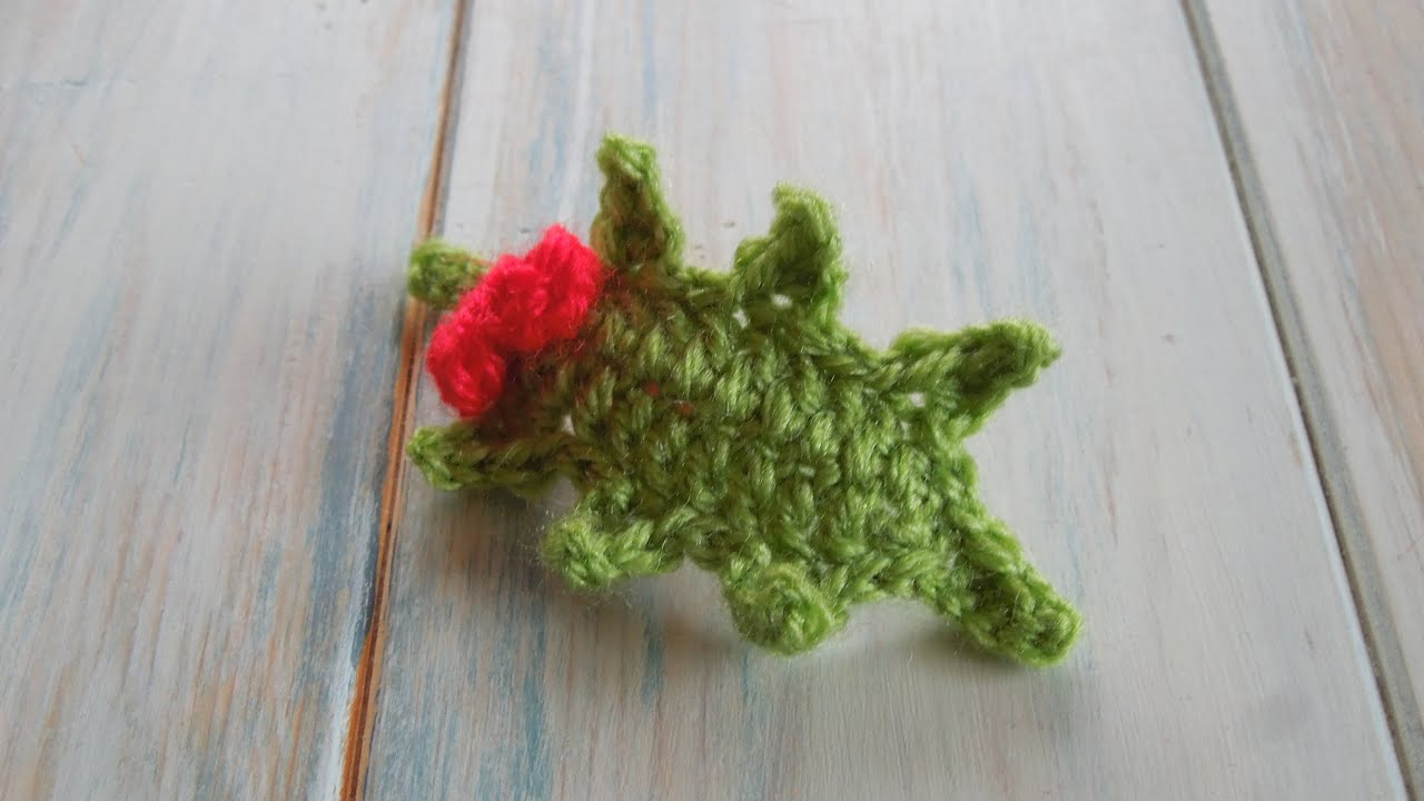 crochet) How To Crochet a Holly Leaf with Berries - Yarn Scrap ...